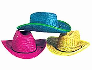 4FunParties Assorted Straw Neon Cowboy Hats
