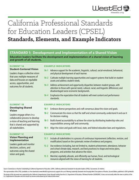 california professional standards  educational leaders