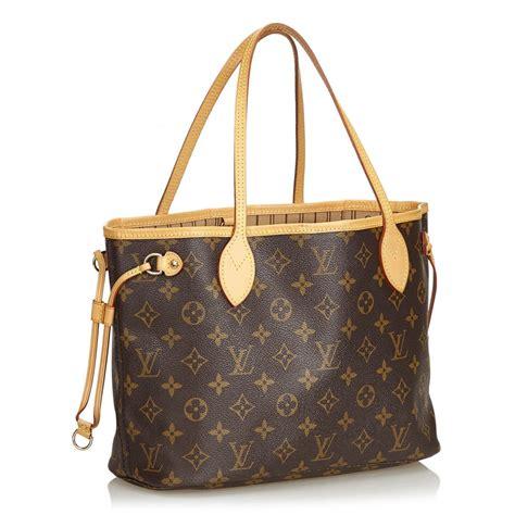 louis vuitton vintage neverfull pm bag brown monogram canvas  leather handbag luxury