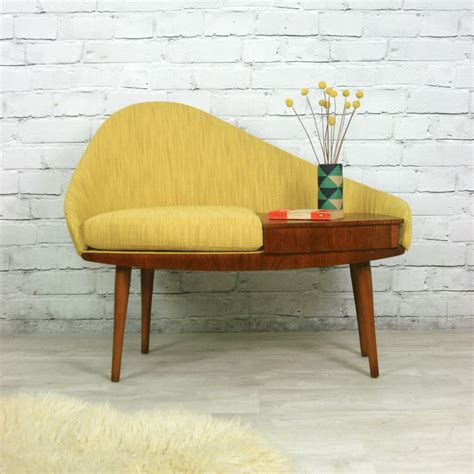 Schnadig Chair Mid Century by Vintage 1960s Telephone Seat Mustard Vintage