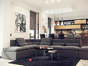 Living modern with nature tones color blasts for Living room and kitchen