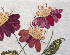 jacobean flower wool applique embroidery pattern jac