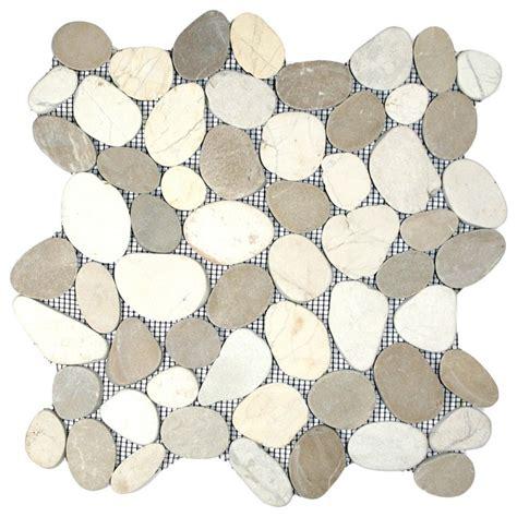 sliced pebble mosaic tile sliced java tan and white pebble tile 12 quot x12 quot contemporary mosaic tile by pebble tile shop