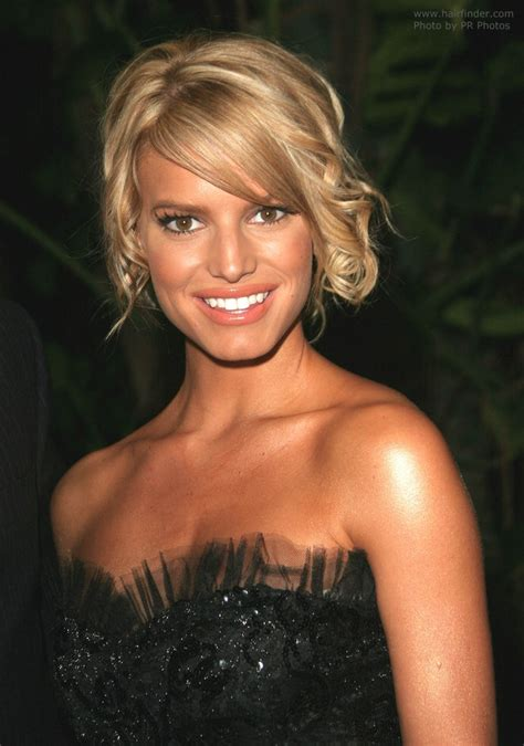 jessica simpson loose curly  style   hair   roughly twirled bun