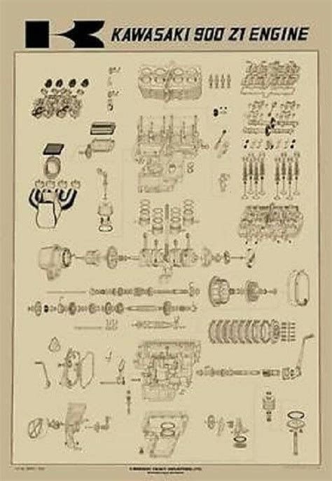 vintage kawasaki   exploded engine motor diagram