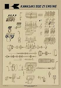 Vintage Kawasaki Z1 900 Exploded Engine Motor Diagram