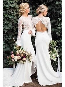 Long Sleeve White Mermaid Wedding Dresses Vintage Rustic