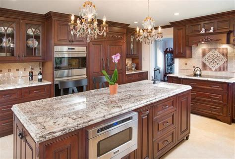 cherry wood cabinets with granite countertop this central ohio kitchen is filled with dark cherry wood
