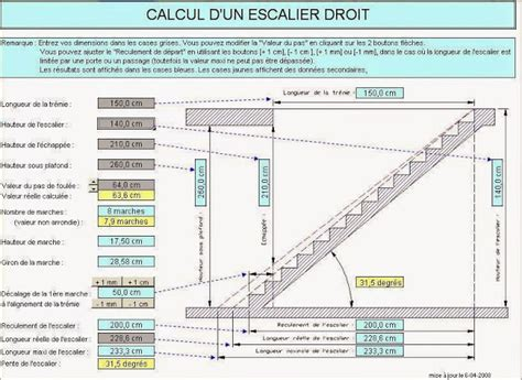 calcul des differents types escaliers sous excel g 233 nie