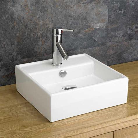 tivoli mm  mm white square bathroom countertop sink