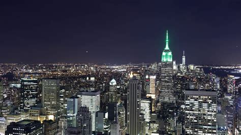 empire state building night view from top of the rock 4k