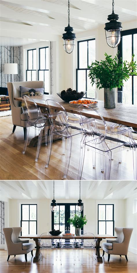 modern farmhouse dining room lighting ghost chairs in modern farmhouse washington