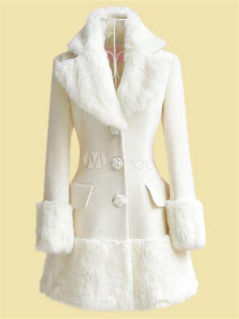 weisser damen mantel mit kunstpelz milanoocom