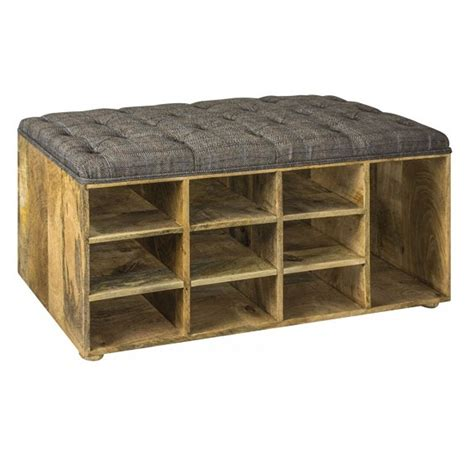 Upholstered Shoe Storage Bench by Upholstered Tweed Shoe Storage Bench Homesdirect365