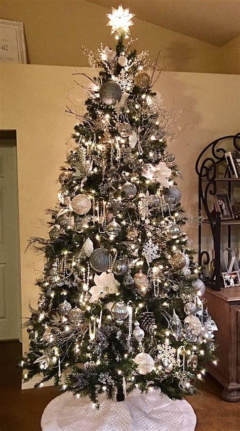 unique silver christmas tree ideas  pinterest