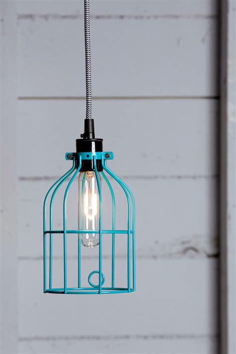 industrial lighting turquoise blue wire cage light pendant