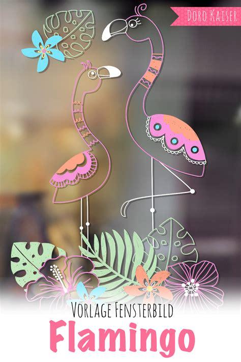 freebie vorlage fuer ein fensterbild mit flamingo doro