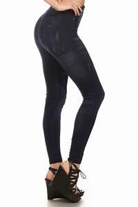 Fashion Jeggings Denim Look Jean Leggings Printed Cotton Stretch Pants S M L XL | eBay