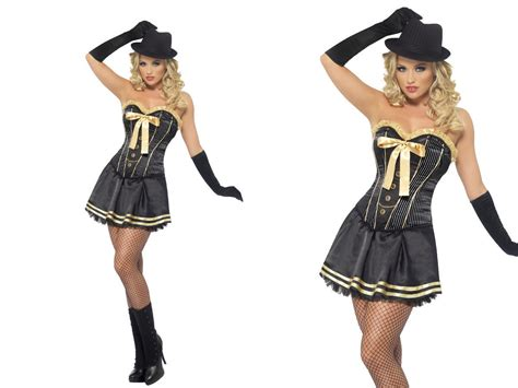 Adult Gangster Moll Fancy Dress Ladies Mafia Costume Size