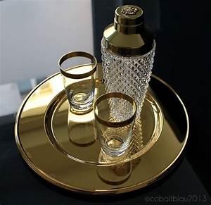 Vintage bar set: 1 crystal glass cocktail shaker, 2 ...