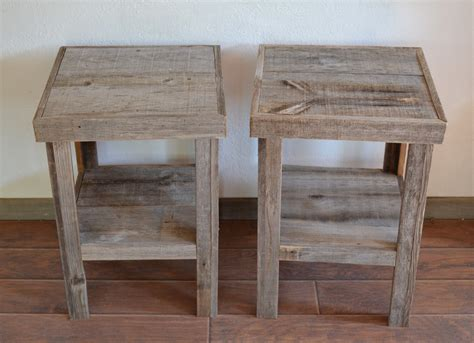 reclaimed barnwood wood  table  night stand pair
