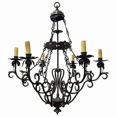 Chandelier Iron Wrought Baroque Scroll Spanish Canopy