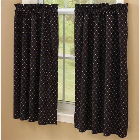 36 Inch Wide Shower Curtain by Black With Tan Stars Lined Curtain Tiers By Park Designs