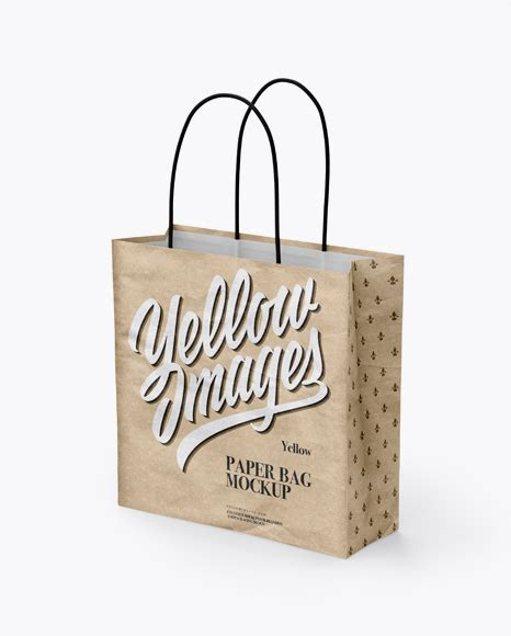 Free for individual and commercial use. Square Kraft Paper Bag Mockup - Half Side View Packaging ...