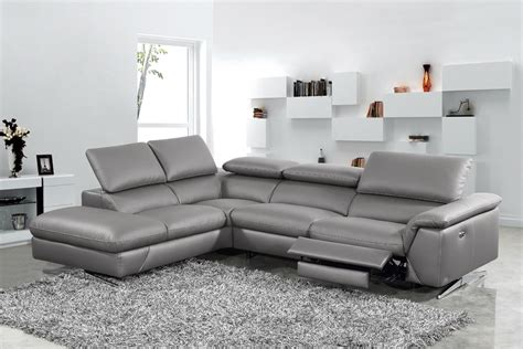 Leather Sofas With Recliners by Divani Casa Maine Modern Grey Eco Leather Sectional