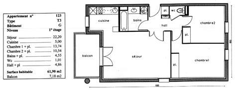combien de chambre dans un t3 plan appartement t3 50m2