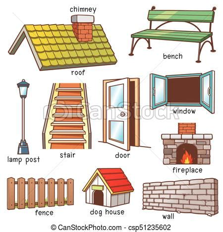 vector illustration of parts of house vocabulary