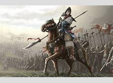 Wallpaper girl, weapons, fiction, horse, armor, art, flags
