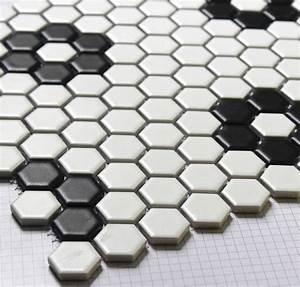 Hexagon mosaics tile black and white parquet mosaic ...