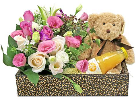 teddy bear fresh flower juice hamper  gorgeous bouquets