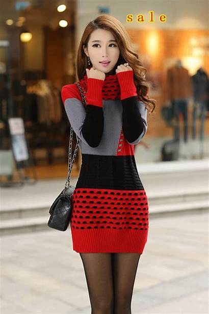 Sweater Winter Knitted Woman Dresses Sweaters Turtleneck