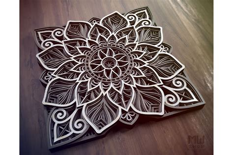 flower mandala dxf layered mandala svg  cricut  laser engraving design bundles