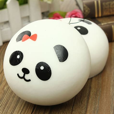 2pcs kawaii jumbo panda squishy buns cell phone bag pendant alexnld