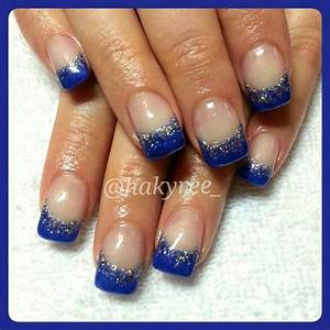 Hand painted Blue French Manicure with Silver Holographic ...