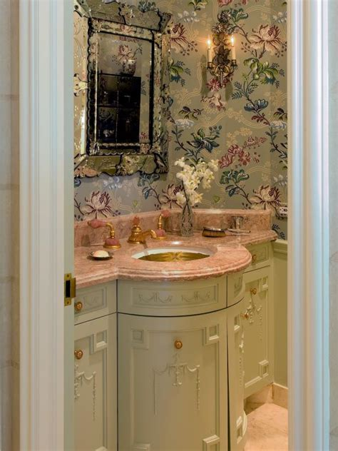 romantic powder room  floral wallpaper hgtv