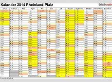 Kalender 2014 RheinlandPfalz Ferien, Feiertage, Excel