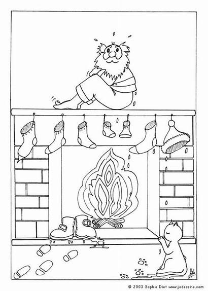 Santa Coloring Fireplace Socks Wet Christmas Pages