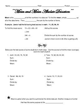 Mean Absolute Deviation Notes, Practice, Stations, And Homework By Blair Haake
