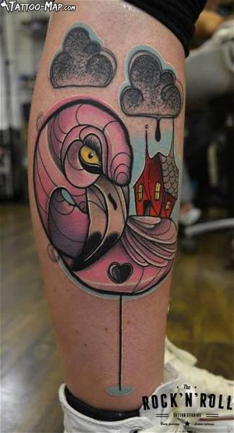 fantasy leg flamingo tattoo  rock  roll