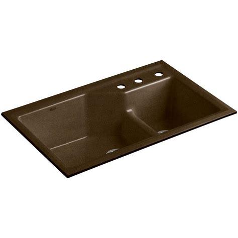undermount cast iron kitchen sinks kohler indio smart divide undermount cast iron 33 in 3 8720