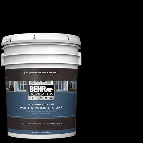behr premium plus ultra 5 gal black satin enamel exterior paint and primer in one 985305 the