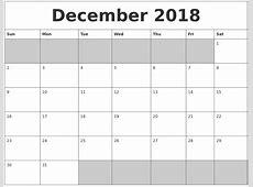 December 2018 Blank Printable Calendar