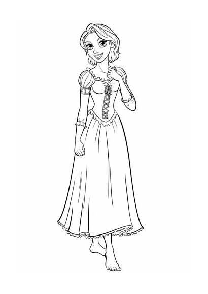 Rapunzel Coloring Pages Disney Princess Walt Characters