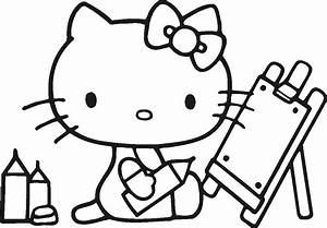 Painting Class Hello Kitty Coloring Pages - coloringsuite.com