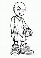 Coloring Basketball Players Popular sketch template