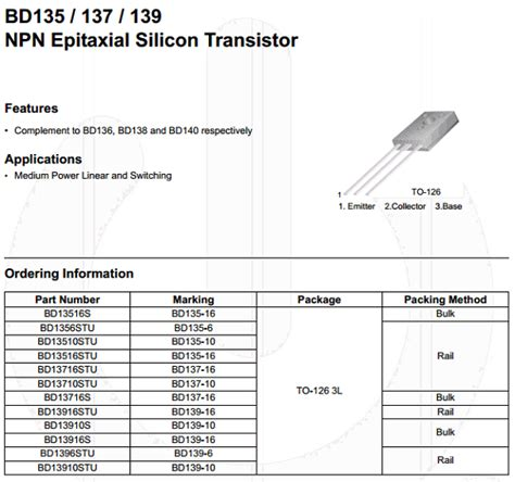 BD139 Datasheet - Vcbo = 80V, NPN Transistor - Fairchild